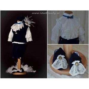 Costum de botez print baiat Elegant Boy cu vestuta, din catifea bleumarin, dvb25