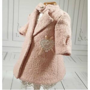 Palton bebelusi fete stofa roz de botez toamna, BETH