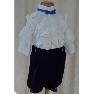Costum de vara botez baiat model print PRINCE, de vara, din catifea albastra 4 piese