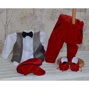 Haine botez baieti- Costum botez vara baiat din stofa si catifea rosie, 5 piese, DENIS