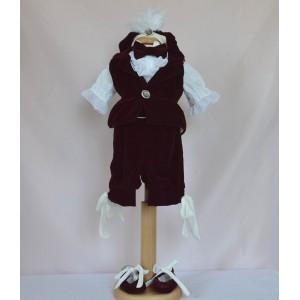 Costum de vara botez baiat Velvet Prince, din catifea fina subtire culoare bordo, 6 piese