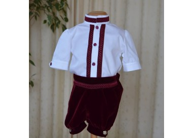 Costum de vara botez baiat, din catifea visinie si camasa bumbac, 3 piese, Velvet Boy