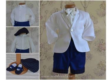 Costume de botez baieti de vara elegant din stofa si in, 6 piese, ALFONSE
