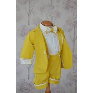 Costum de botez baiat pentru vara bumbac galben 6 piese, Cosmin
