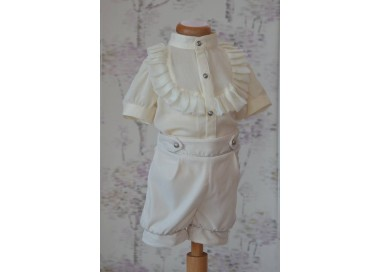 Costum de botez alb-ivoire baieti de vara VERSAILLES, camasa tip body, 3 piese