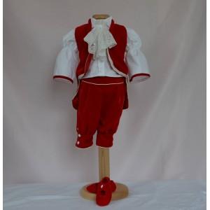 Costum de botez baiat model print Mozart, din catifea rosie, 6 piese