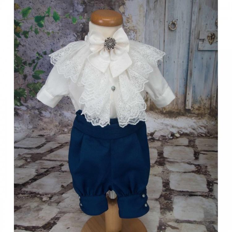 Costum de vara botez baiat print JAMES, stofa bleumarin cu croiala sofisticata, 4 piese