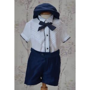 Costum botez de vara baiat EDY din in albastru, textura mata, camasa tip body, 5 piese