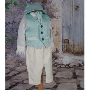 Costum de vara botez baiat Light Green, 6 piese