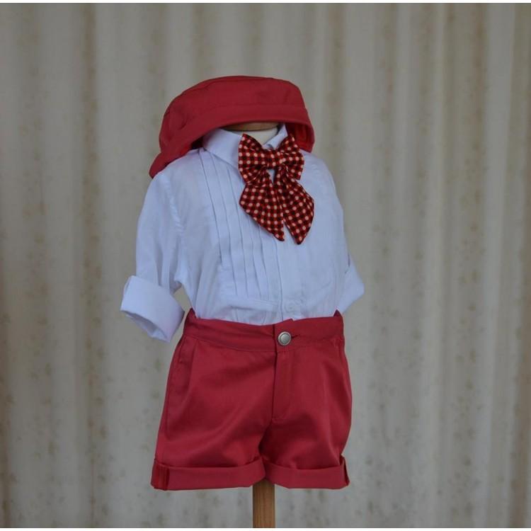 Costum de botez baiat de vara rosu si alb, Short Dots, 4 piese