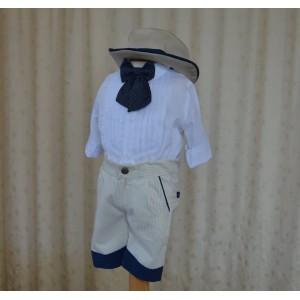 Costum de botez baiat pentru vara Western Dream, din bumbac, camasa tip body