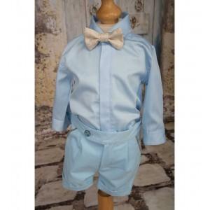 Costum de botez baiat de vara cu bumbac bleu FRANK, 6 piese
