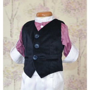 Costum botez baiat de vara Lila Gentleman vesta catifea stofa alba, 5 piese