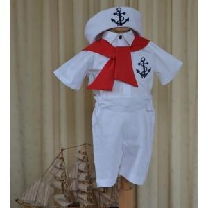 Costum de botez baiat pentru vara MARINAR, din tercot, in si bumbac, 6 piese