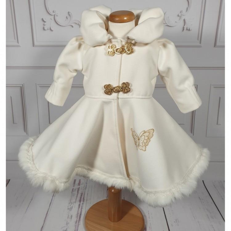Palton bebelusi fetite stofa ivoire de botez iarna, Butterfly
