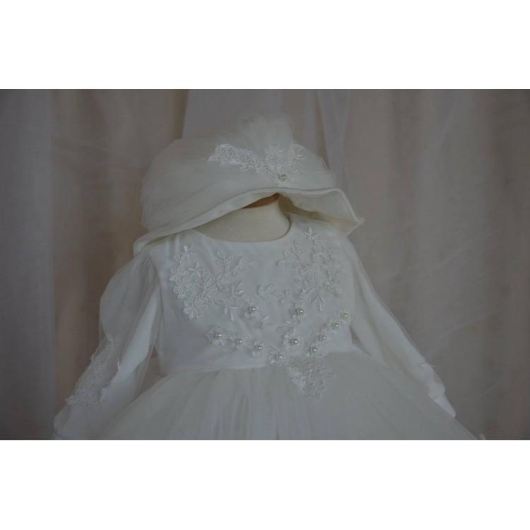Rochite botez fetite dantela alba Snow White - set elegant, 4 piese