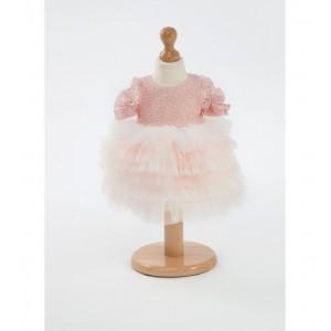 Rochie botez fetita BELLE cu tull roz si Swarovsky