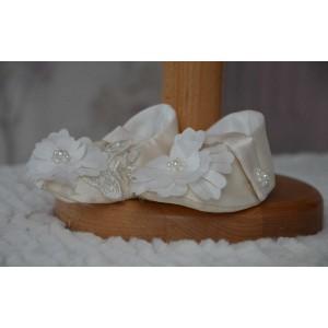 Rochita botez fetita vara cu dantela 3D, eleganta si suava, 3 piese, CLAUDE