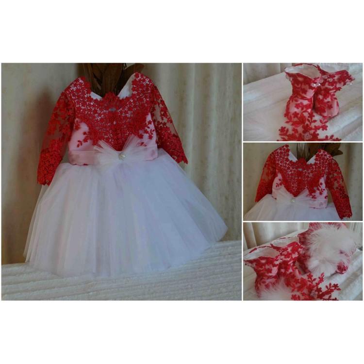 Rochita de botez rosie vara fetite Red Elegance