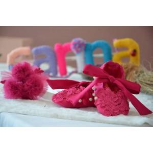 Rochita de botez roz pentru vara CARINA - set elegant tull si dantela fucsia ocazii speciale, 3 piese