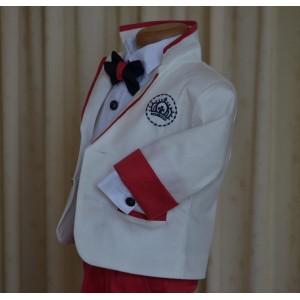 Costum de botez baiat CROWN, tercot ivoire si rosu, cu blazon brodat, 6 piese