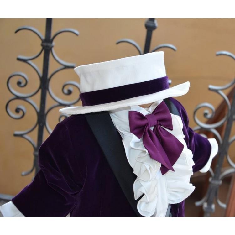 Costum de botez baiat superb Knight Velvet din catifea mov, 6 piese