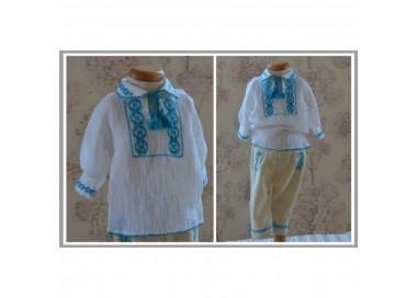 Costum popular traditional de botez baiat ieftin ALBASTREL