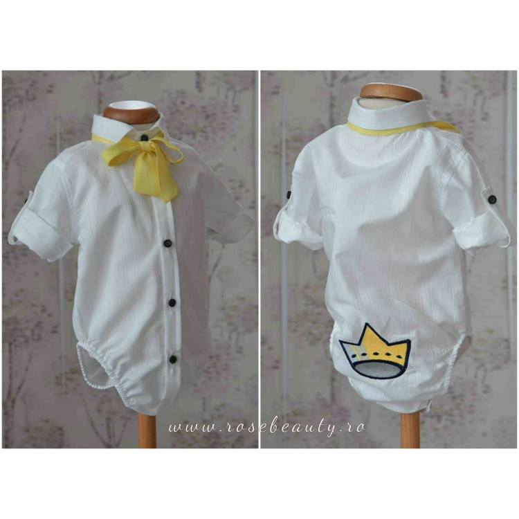 Camasa body pentru costum botez baiat din bumbac, brodata cu o haioasa COROANA
