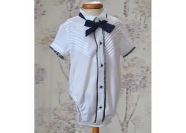 Camasa pentru costum botez baiat EDY din bumbac tip body, cu fine si elegante pliseuri pe piept