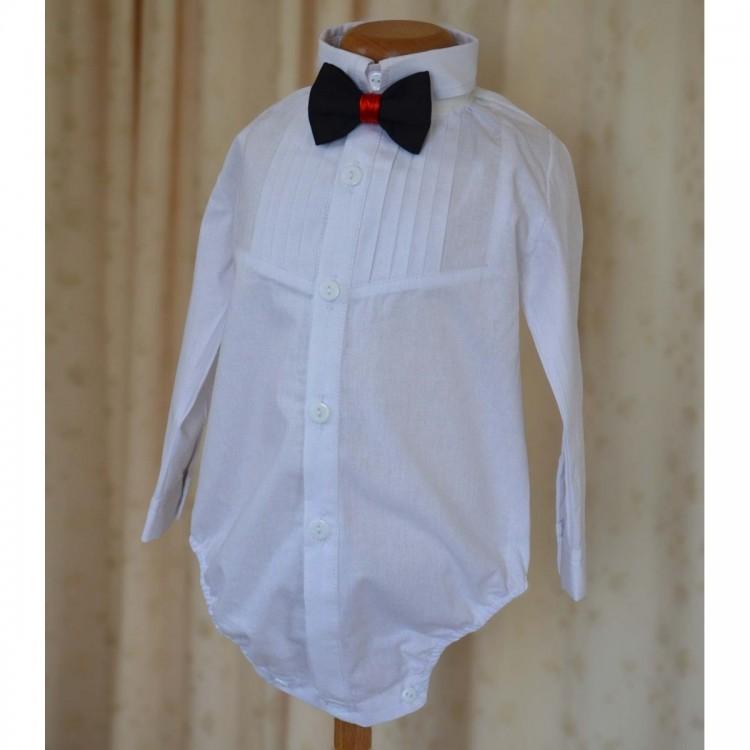 Camasa botez baiat TOMMY din bumbac tip body, cu fine si elegante pliseuri pe piept