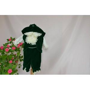 Costum de botez baiat printisor Green Dream, din catifea verde, cu botosei