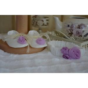 Rochita botez mov bebe fetite VIOLETTE -set elegant din catifea si tafta, 5 piese