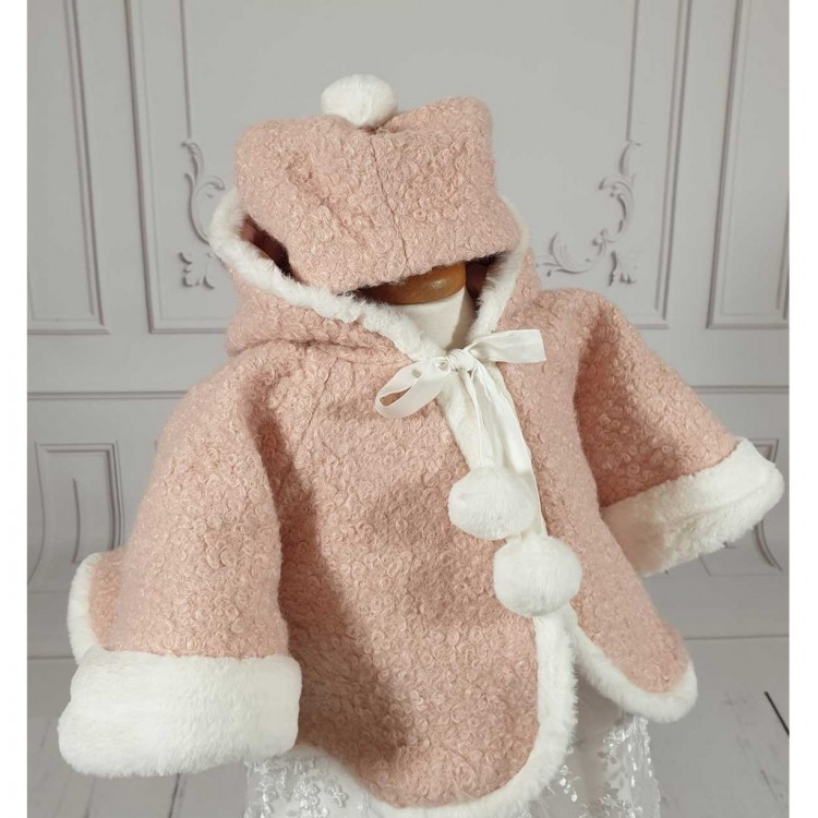 Paltonas stofa roz de botez bebelusi fetite iarna, Happy Winter