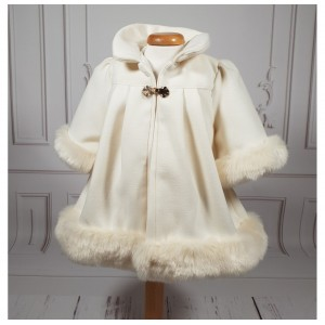 Paltonas si caciula ivoire de botez bebelusi fete, Ely