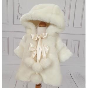 Paltonas ivoire bebelusi fetite de botez toamna-iarna, Pufosica