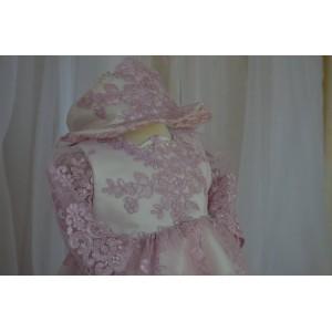 Rochite bebelusi botez de lux - Rochie botez bebe LILA Dress set elegant dantela mov, 4 piese