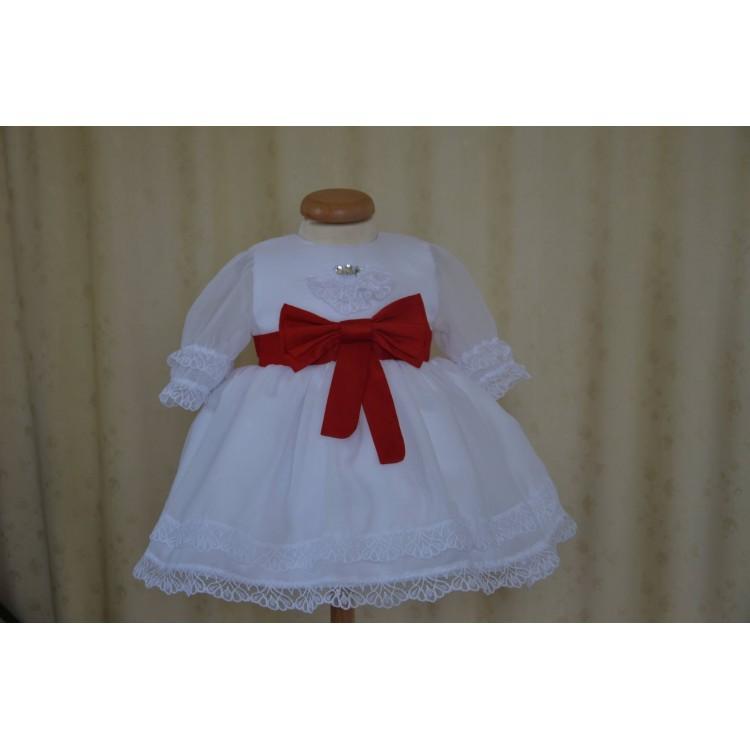 Rochie de botez rosie Princess in Red - set catifea rosie si dantela, 4 piese