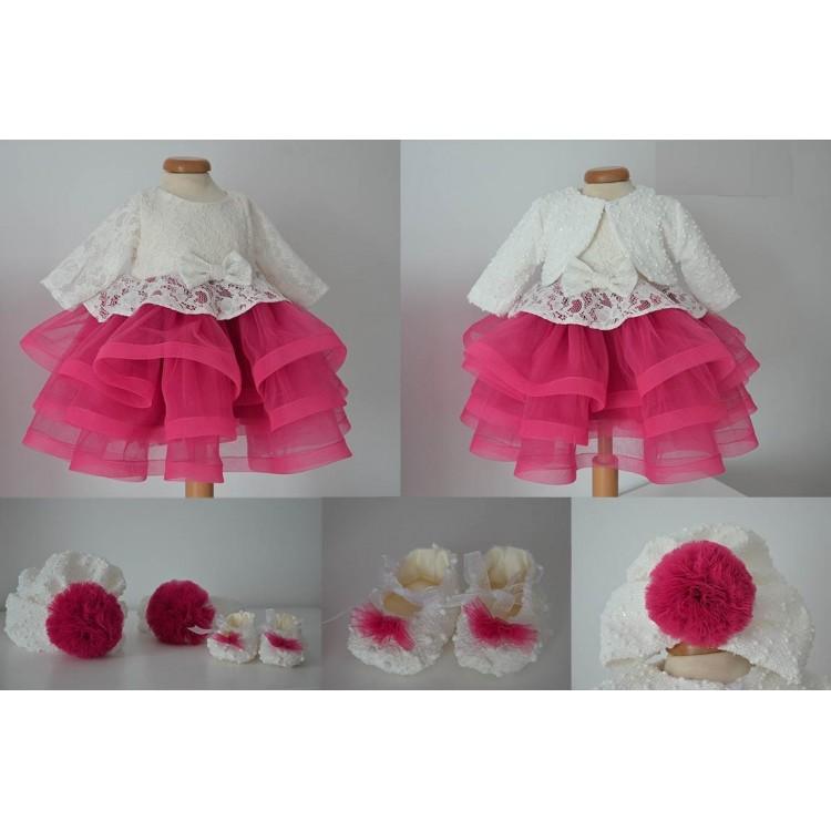 Rochite bebelusi de botez COSETTE- set alb cu roz dantela si tull cu bolero si turban, 5 piese