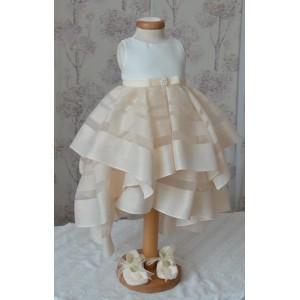 Rochite botez bebe fetite AMELIE - set elegant organza si dantela ocazii speciale, 3 piese