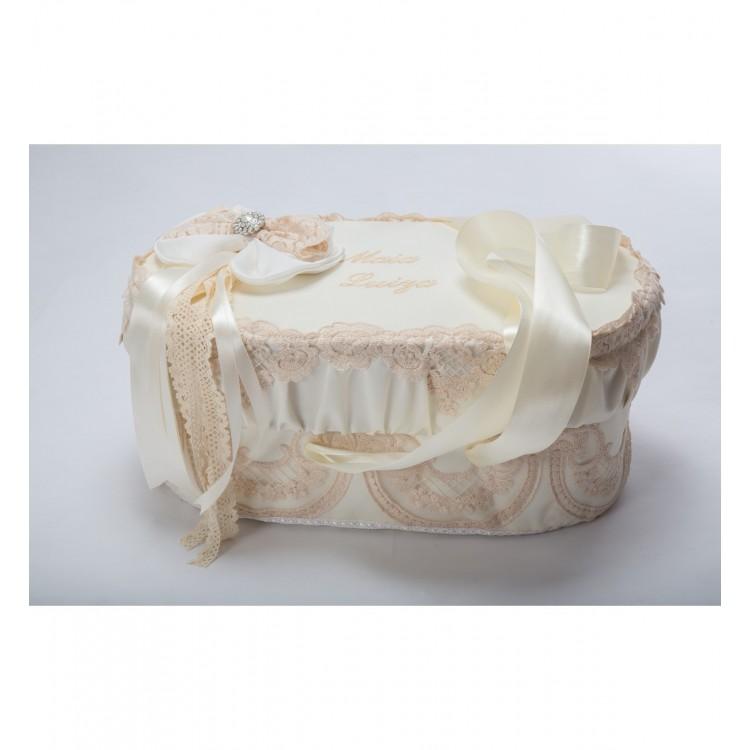Cufar-cutie pentru trusou botez BEIGE