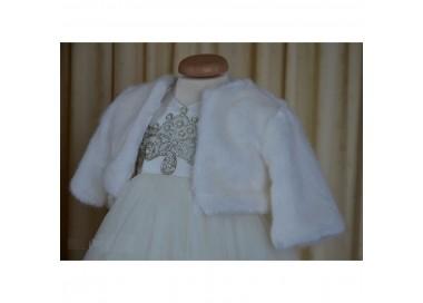 Bolero elegant de botez fetite din blanita ivoire, cvp13