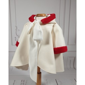 Palton alb-ivoire de botez bebelusi fete, Merry