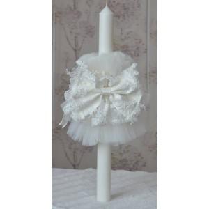 Lumanari botez pentru fetita eleganta alb-ivoire, dantela si tiul, ANGEL