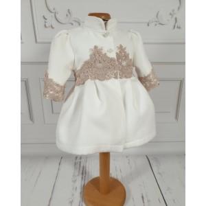 Paltonas alb-ivoire elegant de bebelusi fetite pentru botez, Lisa