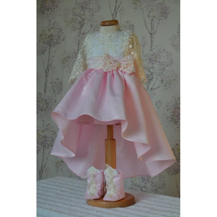 Rochita botez bebe fetita Little Princess- set elegant din tafta si dantela, 3 piese