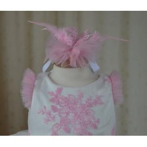 Rochite botez roz vara Pink SNOWFLAKE - set vesel de vara, 3 piese