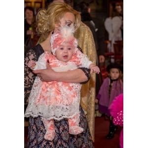 Rochita eleganta de botez bebe fetita Corai Princess, 4 piese