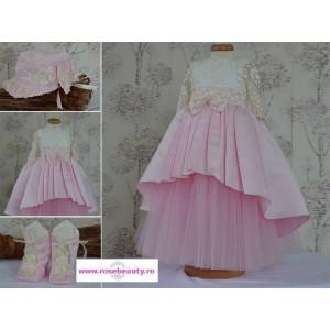 Rochite botez roz fetite AURORA- set elegant printesa