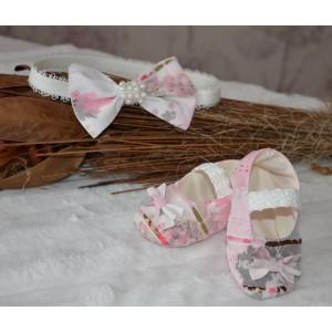 Rochite botez roz fetite LUNA - set de vara din tafta subtire ocazii speciale, 3 piese