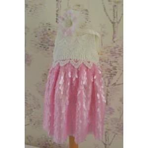 Rochite roz botez vara Mademoiselle - set chic din paiete, 3 piese